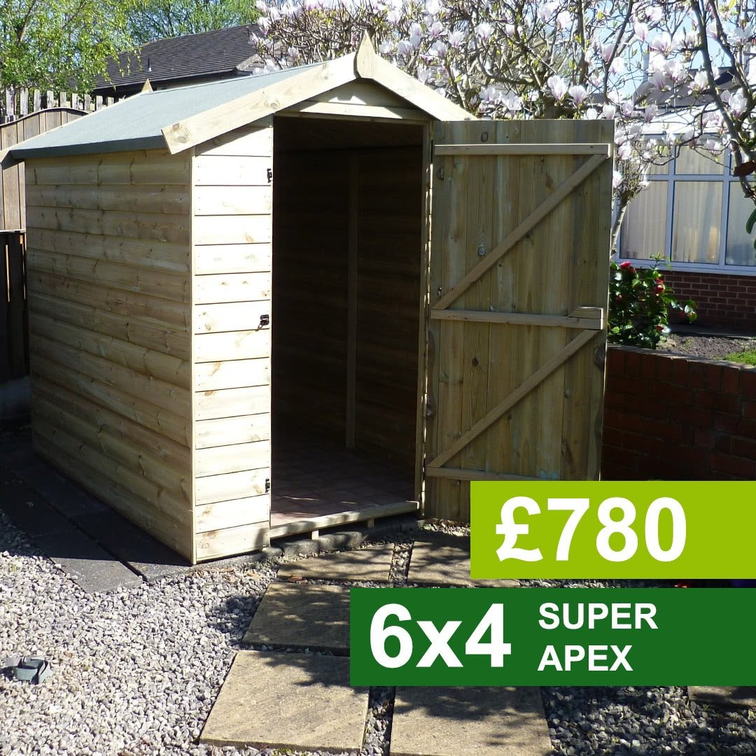 6x4 Super Apex Garden Shed