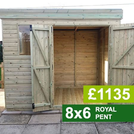 8x6 Royal Pent Garden Shed